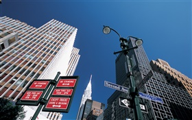 Signpost, skyscrapers, New York, USA