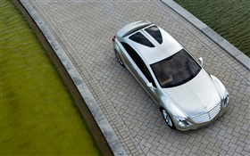 Silver Mercedes-Benz car top view HD wallpaper