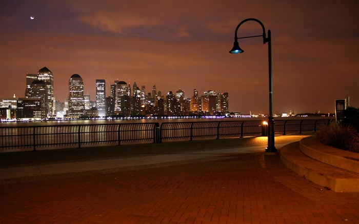 Skyscrapers, river, lights, city, street, lamps Wallpapers Pictures Photos Images