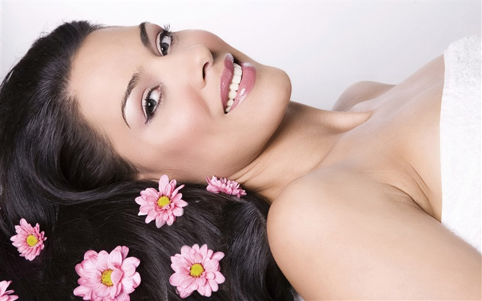 Smile woman, pink flowers, hair, SPA theme Wallpapers Pictures Photos Images