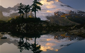 Snow mountain, trees, lake, water reflection, dusk HD wallpaper