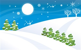 Snow, trees, moon, vector pictures HD wallpaper