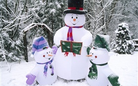 Snowman, snow, winter, Christmas HD wallpaper