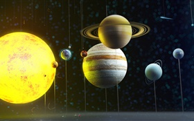 Solar system planet, space, model HD wallpaper