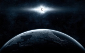 Space, planet, light, superman HD wallpaper
