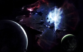 Space, planets, light, black HD wallpaper