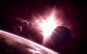 Space, universe, planets, bright light HD wallpaper