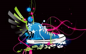 Sport shoes, wings, creative, vector design HD wallpaper