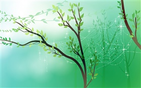 Spring, green, trees, leaves, spider web, dew, vector pictures HD wallpaper