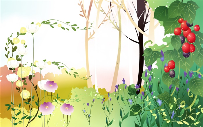 Spring theme, trees, leaves, berries, vector pictures Wallpapers Pictures Photos Images