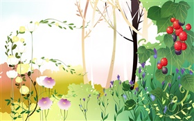 Spring theme, trees, leaves, berries, vector pictures HD wallpaper