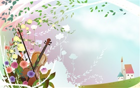 Spring themed, flowers, violin, tree, house, vector pictures HD wallpaper