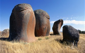 Stones, grass, blue sky, clouds, Australia HD wallpaper