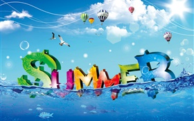 Summer, creative design, colorful, water, fish, birds, balloons HD wallpaper