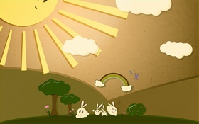Sun, rabbit, rainbow, art design HD wallpaper