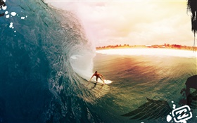Surf, sea, sunset, creative design