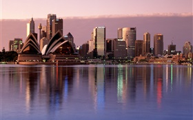 Sydney, city, dusk, buildings, Australia HD wallpaper
