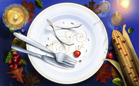 Thanksgiving pictures, art paintings, dishes, knives, forks, cherry HD wallpaper