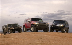 Three Hummer cars HD wallpaper