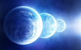 Three blue planets HD wallpaper