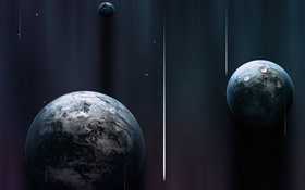 Three planets, space, comet HD wallpaper