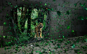 Tiger in the forest, green leaves flying, creative pictures HD wallpaper