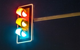 Traffic lights, night HD wallpaper