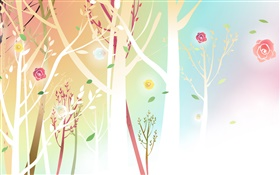 Trees, flowers, spring, vector design HD wallpaper