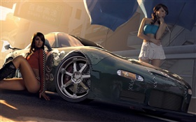 Two girls with Mazda car HD wallpaper