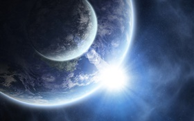 Two planets, space, bright, blue HD wallpaper