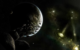 Universe, planets, stars, space rocks, nebula HD wallpaper