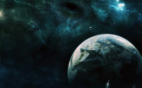 Universe, space, earth, moon, spaceship HD wallpaper