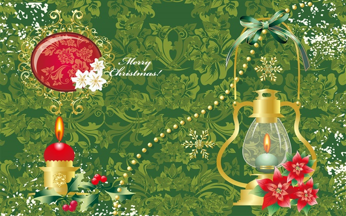 Vector design, Merry Christmas, light, candle, leaves Wallpapers Pictures Photos Images