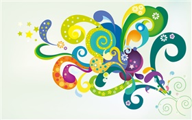 Vector design, colorful flowers, shapes HD wallpaper