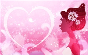 Vector design girl, pink style, love heart HD wallpaper