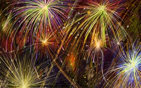 Vector fireworks, colorful HD wallpaper