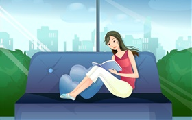 Vector girl, red dress, reading book on sofa HD wallpaper