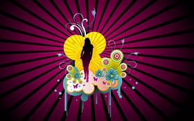 Vector girl, stage, flowers, creative design HD wallpaper