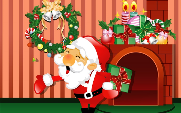 Vector pictures, Christmas, Santa, gifts, candles Wallpapers Pictures Photos Images