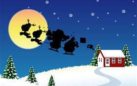 Vector pictures, Christmas theme, house, snow, moon HD wallpaper