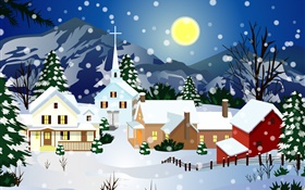 Vector pictures, thick snow, house, moon, Christmas HD wallpaper