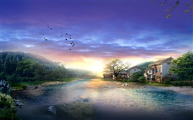 Village, river, trees, birds, sunset, clouds, 3D render design HD wallpaper