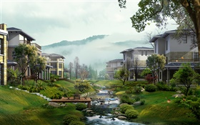 Villas, creek, trees, fog, 3D render design HD wallpaper