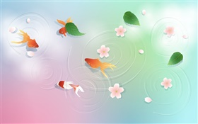 Water, goldfish, leaves, flowers, vector design HD wallpaper