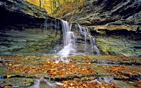 Waterfalls, rocks, red leaves, autumn HD wallpaper
