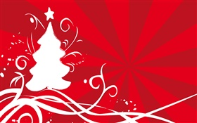 White Christmas tree, red background, vector HD wallpaper