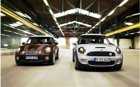 White and brown MINI cars HD wallpaper