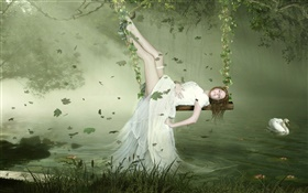 White dress fantasy girl lying on the swing, swan, lake, leaves HD wallpaper