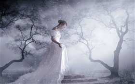White dress fantasy girl, trees, snow, light rays HD wallpaper