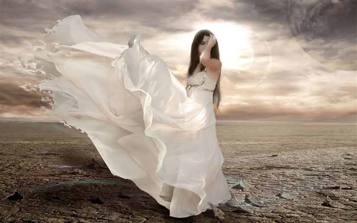 White dress fantasy girl, wind, sun Wallpapers Pictures Photos Images